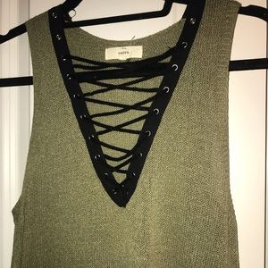 VICI Collection Lace Up Sweater